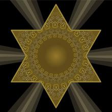 Golden Star Of David In Antiqu...
