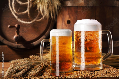 Two mugof beer .With wheat and barley and barrels spikes on bakcground.Still life