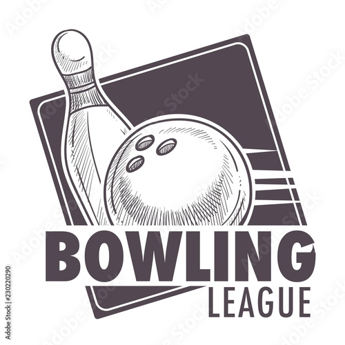 Canvastavla Bowling league poster with ball and skittle monochrome