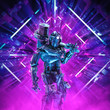 canvas print picture - Return of the quantum warrior / 3D illustration of science fiction scene showing dark heavily armoured robot with battle hammer inside neon lit kaleidoscopic space ship corridor