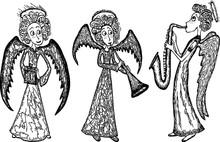 Vector Drawings Of Christmas Angels