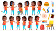 Girl Schoolgirl Kid Poses Set Vector. Black. Afro American. High School Child. Children Study. Smile, Activity, Beautiful. For Postcard, Announcement, Cover Design. Isolated Cartoon Illustration