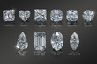 Ten the most popular diamond shapes with titles on black glossy background. 3D illustration