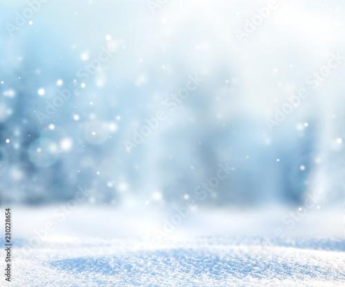 Fototapeta Blurred winter nature snowy background. obraz na płótnie