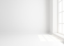 Empty White Background With Window. Mockup, Template.