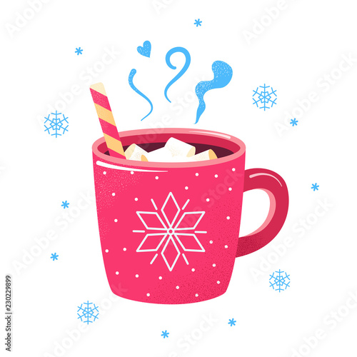 Winter hot drink cup cocoa  hot chocolate marshmallows Fototapete