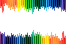 Crayons Lined Up Isolated On White Background.