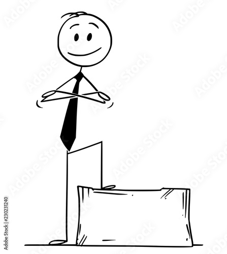 Photo Cartoon stick drawing conceptual illustration of confident smiling man or businessman standing on stone block ashlar with arms crossed
