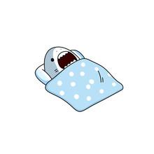 Cartoon Cute Shark Sleeps In Bed Under A Blanket. Childrens Illustration