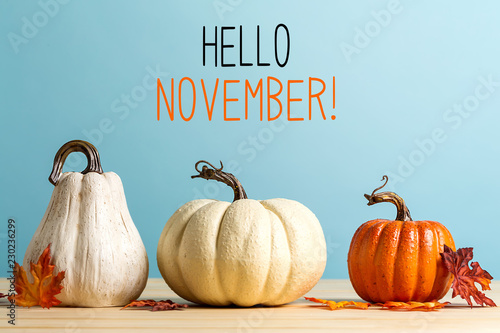 Hello November message with pumpkins on a blue background