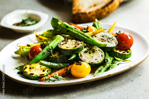 Charred Zucchini,Okra and Baby Carrot with Thyme and Balsamic