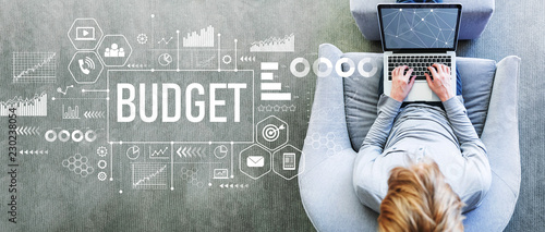 Fototapeta Budget with man using a laptop in a modern gray chair obraz