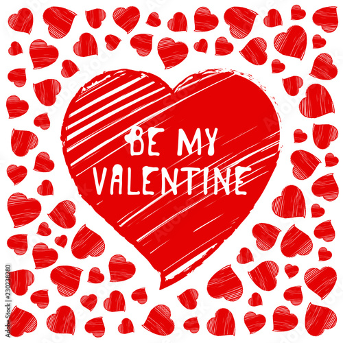 Photo  Happy Valentine s Day greeting card, postcard. Be my Valentine.