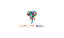 Color Elephant Vector Logo Image