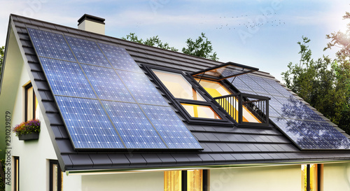 Obraz Solar panels on the roof of the house - fototapety do salonu