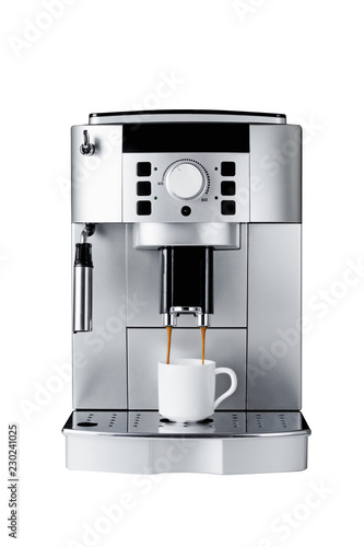 Fotografiet coffee machine brewing cup of coffee, isolated on a white background