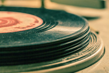 Old Record Player And Vinyls As Toned And Filtered Photo