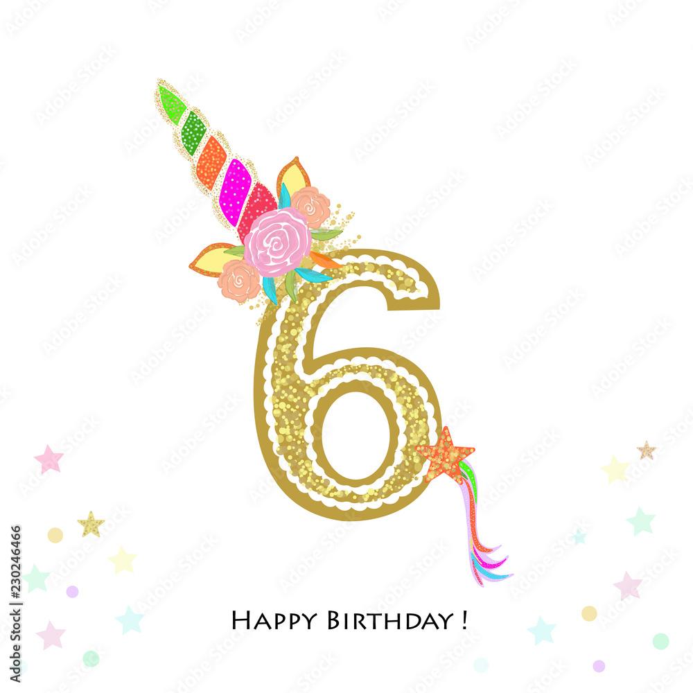 Sześć. Szóste urodziny. Zaproszenie urodzinowe kolorowe jednorożca. Baby shower, kartkę z życzeniami zaproszenie na przyjęcie <span>plik: #230246466 | autor: Gulsen Gunel</span>