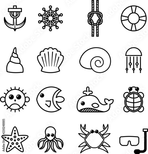 Cuadros en Lienzo Set icone vita marina, mare, spiaggia