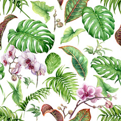 Panel Szklany Storczyki Watercolor Tropical Leaves Seamless Pattern