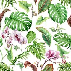 FototapetaWatercolor Tropical Leaves Seamless Pattern