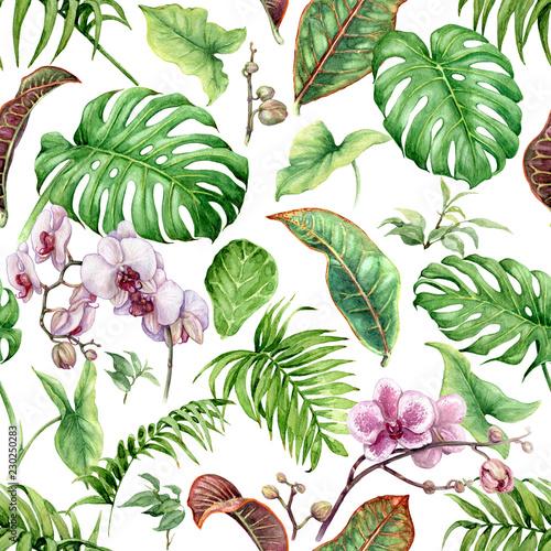 akwarela-tropikalny-wzor-lisci