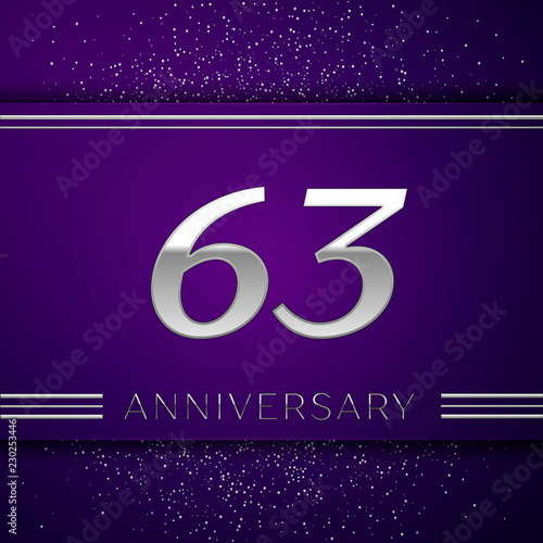 Fotografia  Realistic Sixty three Years Anniversary Celebration design banner