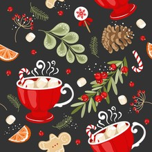 Christmas And New Year Floral Seamless Pattern For Cards, Fabric And Wrapping Paper With Berries And Flowers, Twigs And Winter Elements.