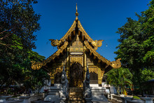 Ancient Buddhist Hall Of Wat Jet Yod Old Temple In Chiangmai, Thailand