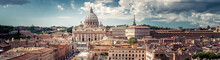 Panorama Of Rome, Italy. View Of Vatican City, Urban Landscape Of Roma.