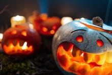 Halloween Pumpkins In A Spooky...