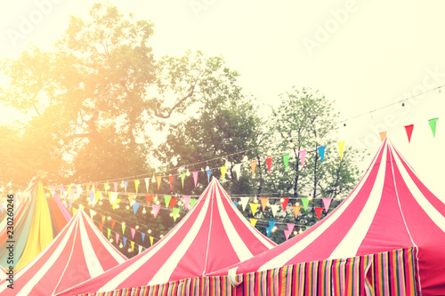 Weekend Market Festival with Colorful Decoration Retro Filter Effect