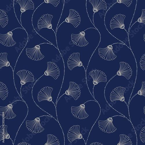 Tapety Art Deco  krem-recznie-rysowane-streszczenie-wektor-kwiatowy-wzor-na-tle-indygo-kwitnie-art-deco-abstrakcyjne-kwiaty-wachlarzowe