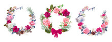 Set Of Christmas Cards, Wreath...