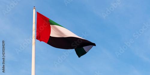 Fotografie, Obraz  United Arab Emirates flag against blue sky
