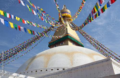 Deurstickers Nepal Boudhanath, Boudnath, Boudha Stupa in Kathmandu, Nepal
