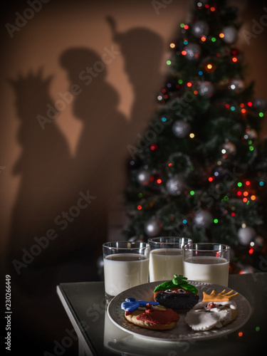 COOKIES AND MILK FOR THE TREE WISE MEN OF ORIENT, Kings Melchior, Gaspar and Bal Canvas Print
