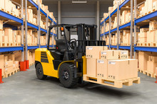 Forklift Truck With Cardboard Boxes In Warehouse, 3D Rendering