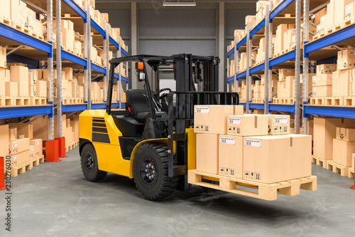 Photo  Forklift truck with cardboard boxes in warehouse, 3D rendering