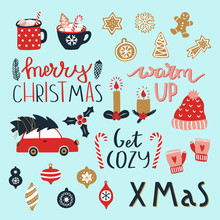 Set Of Merry Christmas And Happy New Year Elements. Cozy Winter Season.Vector Illustration With Christmas Tree, Lettering, Car, Toys, Gingerbread, Cup Of Hot Chocolate, Winter Wool Hat And Mittens.