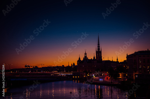 Photo  Silhouette of Stockholm cityscape skyline at sunset, dusk, Sweden