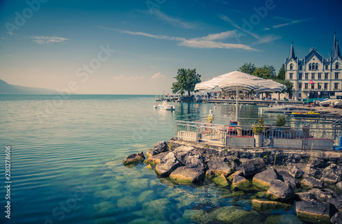 Photo sur Toile Bleu vert Vevey-Marche on stone shore of Lake Leman Geneva in Vevey, Switzerland