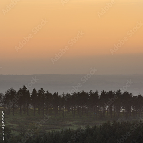 Tuinposter Grijs Stunning Autumn sunset landscape image of view from Leather Tor towards Burrator Reservoir in Dartmoor National Park