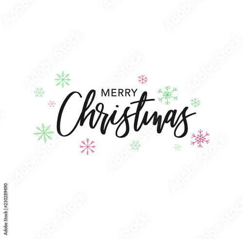 Fotografie, Obraz  Merry Christmas Calligraphy Vector Text With Hand Drawn Snowflakes Over White Ba