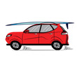 Red Car with Surfboard.Sketch-Style Icon. Symbol. Sign. Stock Vector Illustration. Transparent. White Isolated.