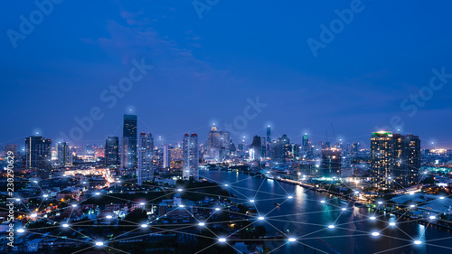Cityscape with connecting dot technology of smart city conceptual - 230290629