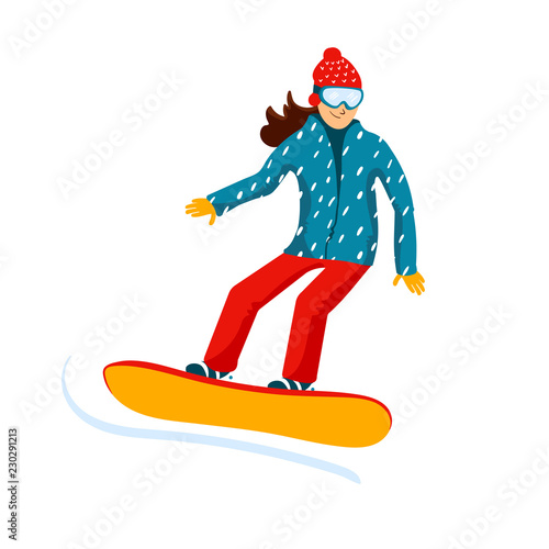 Cartoon Snowboard Riders Female Winter Mountain Sports Activity Ski Resort Vacation Vector Illustration In Simple Flat Style Buy This Stock Vector And Explore Similar Vectors At Adobe Stock Adobe Stock