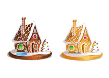 Two Gingerbread Houses. Cute Hand Drawn Honey Cakes. Traditional Sweet Christmas Treat. Colorful Vector Illustration.