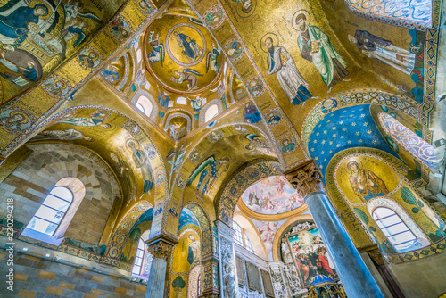 The golden dome with Christ in throne in The Martorana (Cathedral of Saint Mary of the Admiral) in Palermo Wallpaper Mural