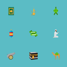 Set Of Religion Icons Flat Style Symbols With Camel, Poster, Lantern And Other Icons For Your Web Mobile App Logo Design.